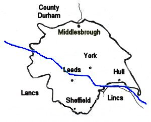 Map of Yorkshire dialect region